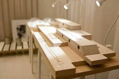 Simple wooden display for minimal jewelry from Lanthane