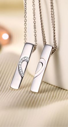 Matching Couple Necklaces, Love Heart Jewelry Gifts, His and Hers Pendants, Sterling Silver + CZ Diamond @ iDream-Jewelry.Com