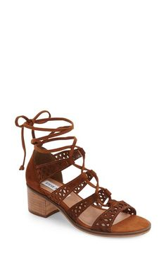 Free shipping and returns on Steve Madden Randee Ghillie Lace Sandal (Women) at Nordstrom.com. Laser-cut geometric shapes detail the side straps of this ghillie-laced sandal lifted by a modest block heel.