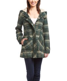 Urban Republic Green Plaid Faux Fur-Trim Coat | zulily -  $24.99 $85.00 size: size chart S M L  Product Description:  Bundle up in this classic plaid coat and stay cozy thanks to its faux fur lining and secure zip closure. A roomy hood offers extra warmth.  Size note: This item runs in juniors sizing. We recommend ordering one size up.      Size M: 31'' long from high point of shoulder to hem     Hooded     Zip / snap closure     Side entry pockets     Lined     100% polyester