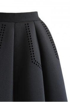 Shield Cutout Airy Pleated Skirt in Black - Retro, Indie and Unique Fashion