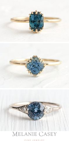 Beautiful sapphires in shades of blue are set in delicate ring settings, accented by diamonds in gold. Find these unique alternative engagement rings at ! Shop Engagement Rings, Alternative Engagement Rings, Vintage Engagement Rings, Gold Bar Earrings, Blue Sapphire Rings, Blue Rings, Delicate Rings, Ring Verlobung, Rings