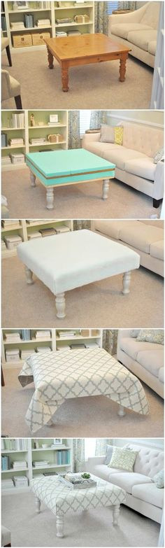 DIY Upholstered Ottoman Made From Old Coffee Table. Coffee Table Ottoman Diy, Diy Footstool, Fabric Coffee Table, Coffee Table Hacks, Coffee Table Upcycle Ideas, Coffee Table Cover, Round Coffee Table Diy, Pallet Ottoman, Upholstered Footstool