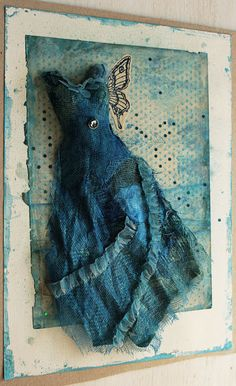 blue - dress - mixed media collage with blue dress - Agnieszka Anna Mixed Media Canvas, Mixed Media Collage, Collage Art, Altered Canvas, Paper Dolls, Art Dolls, Assemblage Art, Fabric Art, Textile Art