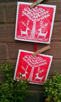 You can't miss these bold lino-printed Christmas cards in seasonal red, complete with reindeer. Christmas Card Packs, Xmas Cards, Christmas Time, Holiday Cards, Art Carte, Stamp Printing, Christmas Illustration, Tampons, Linocut Prints
