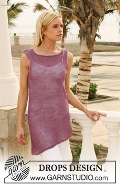 "Knitted DROPS tunic with curved edge in ""Lin"". Size S - XXXL. ~ DROPS Design"