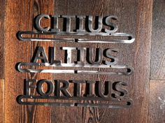 CITIUS ALTIUS FORTIUS (Faster, Higher, Stronger) Olympic Motto Metal Medal Hangers in choice of colors