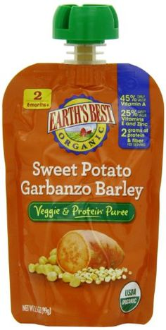 Earth's Best Organic Veggie & Protein Puree Baby Food, Sweet Potato Garbanzo Barley, 3.5 Ounce (Pack of 12) - http://goodvibeorganics.com/earths-best-organic-veggie-protein-puree-baby-food-sweet-potato-garbanzo-barley-3-5-ounce-pack-of-12/