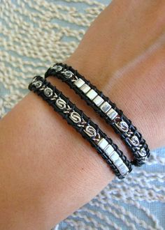 Beaded Wrap Bracelet With Silver Chain and Black by MaisJewelry, $36.00