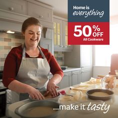 Home is everything..make it tasty with 50% off all cookware. Pyrex Cookware, Kitchenware, Baking Tins, Kitchen Interior, Backyard Landscaping, Everything, Appetizers, Tasty, Make It Yourself