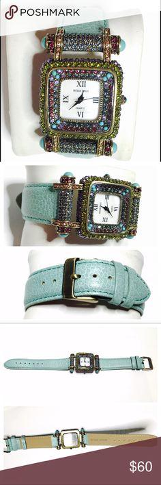 Heidi Daus Swarovski crystals Watch, leather band 🌸Mother's Day sale💝.  Item no. B200                Heidi Daus Swarovski crystals Watch, turquoise leather band, in mint working condition heidi daus Jewelry