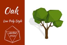 Oak tree in low poly style. Vector by Larser on Creative Market