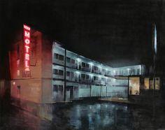 "Kim Cogan ""Surf Motel"" Oil on Canvas, 48"" x 60"""