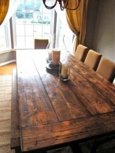 Exactly what I've been telling Eddie (for years) that I want. A huge table made of re-purposed wood with modern chairs. Perfecto <3