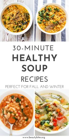 healthy soup recipes that are perfect for fall and winter! This collection of easy soup recipes includes chicken soup recipes, vegan soup recipes, lentil soup recipes, Thai soup recipes, bean soup recipes and vegetable soup recipes. Clean Eating Soup, Cheap Clean Eating, Clean Eating Recipes, Clean Eating Snacks, Healthy Eating, Healthy Recipes, Healthy Meals, Vegetable Soup Healthy, Vegetable Soup Recipes
