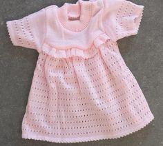 vintage nieuw oud jurkje uit 70er jaren gebreid roze maat 56 pasgeboren meisje babykleding jurkje newborn baby reborn poppen zomerkleding door Smufje op Etsy