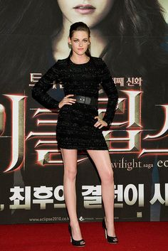 black Prabal Gurung mini dress for the Eclipse premiere in South Korea.