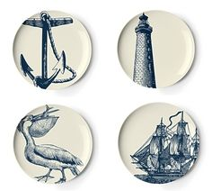 Set of Four Scrimshaw Dessert Plates