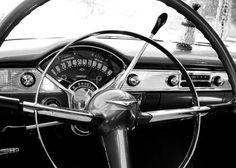 Black and White 1955 Chevrolet Bel Air Steering Wheel and Dash - Mancave Decor - Classic Car Art - 5X7 Fine Art Photograph