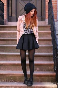 Luanna Perez edgy, feminine outfit. Adore the creeperes and her red hair