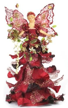 16 Beautiful Tree Topper Mantel Casablanca Angel  Burgundy A01656 ** To view further for this item, visit the image link.