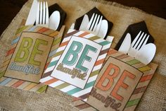 Be Thankful Utensil Holders {free printable}