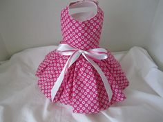 Dog Dress  XS  Pink with White Circle   by NinasCoutureCloset, $12.00