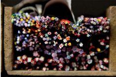 Pentru a crea toate compozițiile florale mozaicate au fost dezvoltate peste treizeci de modele filato diferite , rezultând o transpunere ideală a  frunzelelor, pistulilor și petalelor de flori.