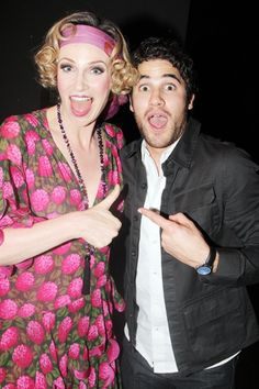 Glee's Darren Criss congratulates his costar Jane Lynch on her opening night in Annie.