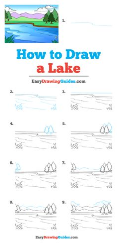 lake drawing draw easy tutorial step landscape tutorials drawings printable really easydrawingguides pencil nature