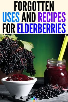 Wonderful Elderberries - Surprising Uses & Recipes Best Elderberry Recipe Ideas for Health and Wellbeing! This collection of the best elderberry recipes will show you how to make jam, jelly, syrup, gum. Elderberry Uses, Elderberry Recipes, Elderberry Jelly Recipe, Elderberry Benefits, Elderberry Gummies, Natural Cures, Natural Healing, Natural Treatments, Natural Foods