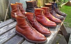 The Crockett & Jones pic (left to right, back row first): 'Snowdon' veldtschoen boot; 'Arran' boot in rough-out; 'Coniston'; 'Skye' brogue boot; 'Islay' brogue boot