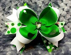 4 Inch Boutique Stacked Loopy Hair Bow St. Patrick's Themed and Color Coordinated Grosgrain Ribbon Spiked Pinwheel Base Heart Gem Embellishment Covered and Lined Alligator Clip This St. Patrick's Day/