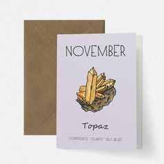November Birthstone Topaz Illustration Birthday Card by Cherry Pie Lane, the perfect gift for Explore more unique gifts in our curated marketplace. Flamingo Illustration, Birthstone Gems, November Birthday, New Baby Cards, Blue And Copper, Kraft Envelopes, Birthstones, Topaz, New Baby Products