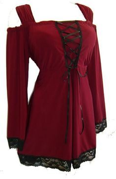 I found 'Dare to Wear Victorian and Gothic inspired plus size Indulgence corset top in burgundy with black lace' on Wish, check it out!