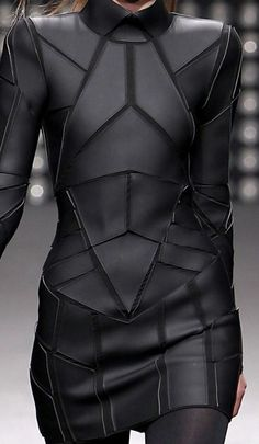 Geometric Fashion - black on black dress with stitched shape segments - futuristic suit; structured fashion details // Gareth Pugh Fashion leather articles at 60 % wholesale discount prices Gareth Pugh, Dark Fashion, Leather Fashion, Fashion Art, Womens Fashion, Fashion Ideas, Ankara Fashion, Classy Fashion, Runway Fashion