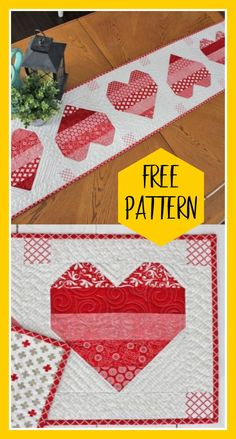 Valentine Hearts Table Runner Small projects are an easy way to create a holiday atmosphere. The valentine hearts table runner is easy to make in time for Valentine's day. Free table runner pattern and tutorial. Valentine Heart, Valentine Crafts, Valentines, Heart Quilt Pattern, Quilt Patterns Free, Small Quilts, Mini Quilts, Scrappy Quilts, Quilting Projects
