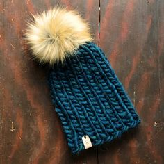 The Lee Toque Fox Fur, Hand Stamped, Knitted Hats, Winter Hats, Wool, Knitting, Leather, Etsy, Tricot