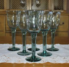 Vintage Pale Green Tall Wine Glasses, Set of 6 Stemware