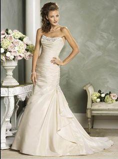 Cheap Bridal Shop Trendy Mermaid Strapless Beads Working Satin Court Train Wedding Dress