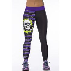 Purple Skull Print Stretchy Yoga Leggings ($16) ❤ liked on Polyvore featuring activewear, activewear pants, purple and yoga activewear