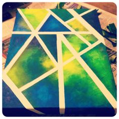Easy canvas art using sponges and masking tape
