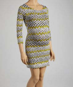 Look at this #zulilyfind! Black & Yellow Zigzag Maternity Scoop Neck Dress #zulilyfinds