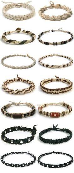 en-rHed-ando: Como hacer Bisuteria de Cañamo Tutoriales <- Whatever that might say. Different types of macrame bracelets..