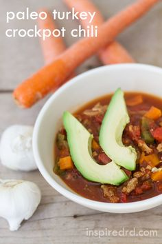 Paleo Turkey Crockpot Chili from InspiredRD.com #glutenfree #paleo