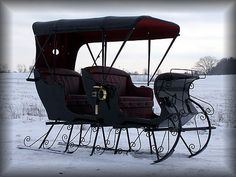 Justin Carriage Works - Two Seat Sleigh Horse Cart, Horse Drawn Wagon, Old Wagons, Horse And Buggy, Dashing Through The Snow, Horse Carriage, Old Antiques, Sled, Winter Wonderland