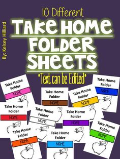 This product contains 10 different kinds of take home folder cover sheets and this products font can be edited and you can also add the name of the student on this file. Thanks, Happy Teaching Kelsey Hilliard . Behavior Management, Classroom Management, Take Home Folders, Teacher Binder Covers, Brag Tags, Different Kinds, Homework, How To Remove, Thankful