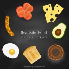Variety of realisty food Free Vector