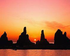 Mountain Lake Sunset | CYP0015758 - japan nature color sunset orange mountain lake (click to ...