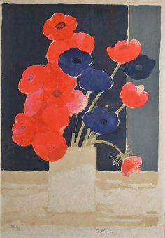 CATHELIN BERNARD, 1919-2004 | Fleurs rouges et bleues lithographie en couleurs sur Japon (insolation et rousseurs), n°XXIX/L, signée en bas à droite, 65x47 cm.